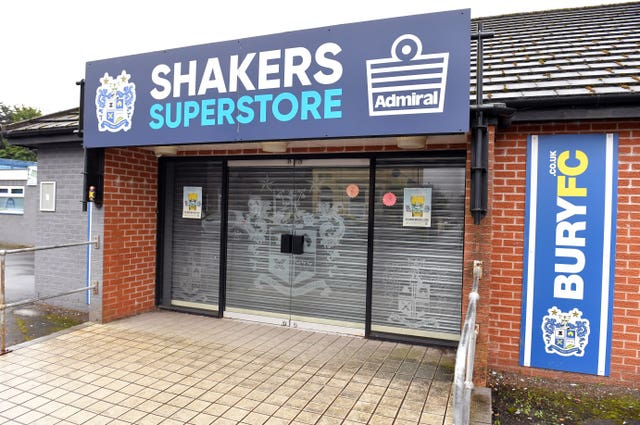 The shutters are down at the superstore at Gigg Lane