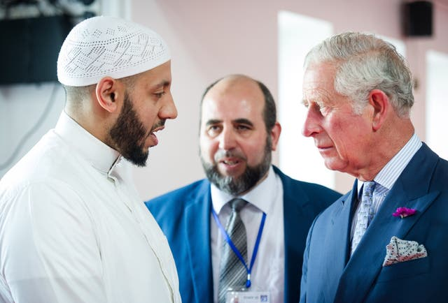 The Prince of Wales with Imam Mohammed Mahmoud who closed the virtual religious event. John Nguyen/The Daily Telegraph