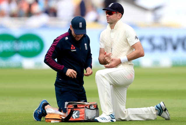 England's all-time leading wicket-taker James Anderson managed just four overs before suffering a calf injury that would rule him out of the rest of the series