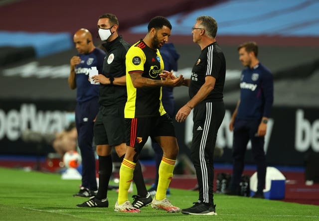Troy Deeney, left, scored in Watford's 3-1 defeat away to West Ham on Friday