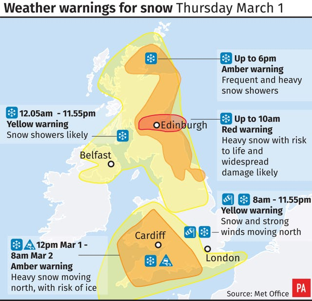 Weather warnings for snow