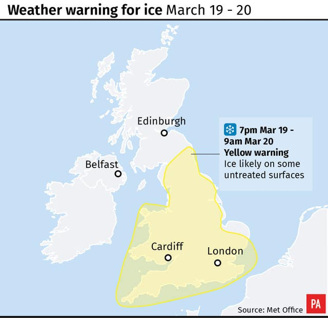 Weather warning for ice March 19 - 20 (PA Graphics)