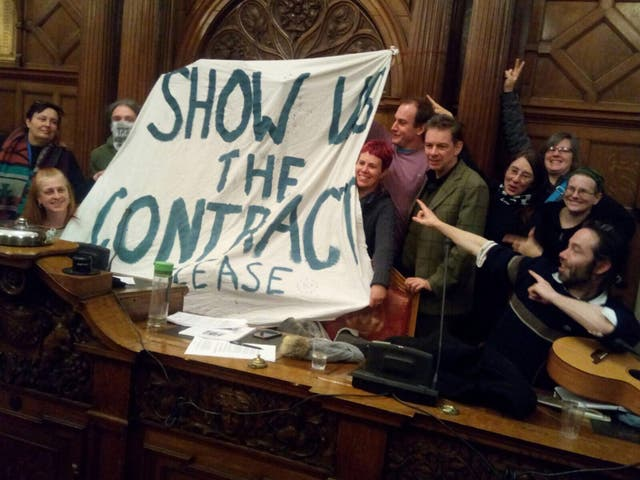 Protests at Sheffield City Council (STAG/PA)
