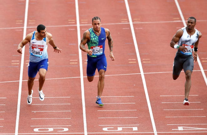 Adam Gemili, left, came second in the 100m final behind Yohan Blake in Birmingham