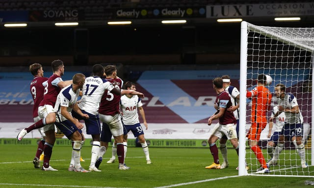 James Tarkowski sees his header cleared off the line Harry Kane