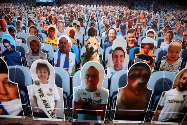 Cardboard cut-outs of supporters at Elland Road, Leeds
