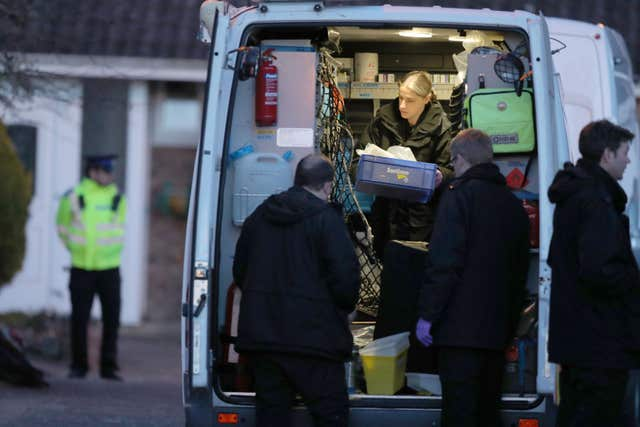 Police activity in the cul-de-sac in Salisbury that contains the home of Sergei Skripal (Andrew Matthews/PA)