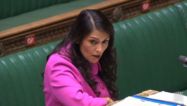 Home Secretary Priti Patel making a statement to MPs in the House of Commons