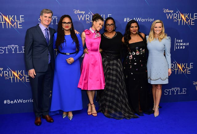 Left to right, James Whitaker, Ava DuVernay, Storm Reid, Oprah Winfrey, Mindy Kaling and Reese Witherspoon attending the A Wrinkle In Time European Premiere (Ian West/PA)