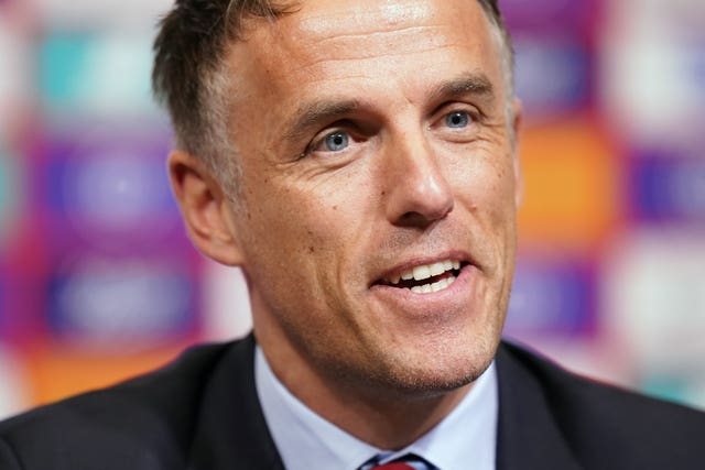 Phil Neville stepped down as England boss on Monday and took charge at Inter Miami (John Walton/PA).