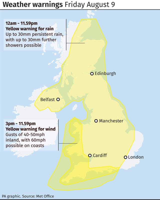 Weather warnings Friday August 9