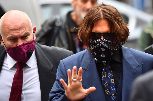 Johnny Depp arriving at the High Court in London