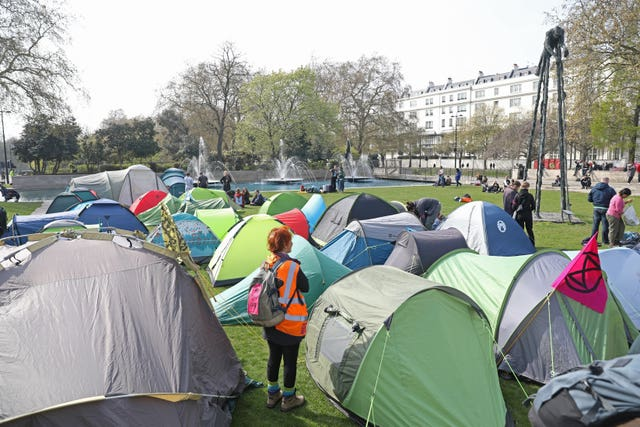 These protesters set up camp near Marble Arch (