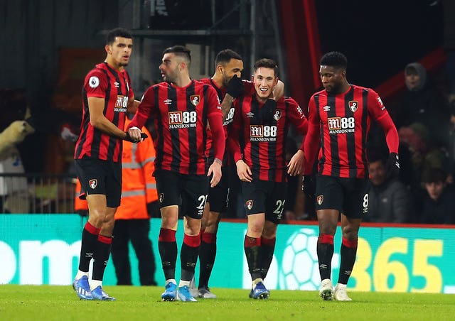 Harry Wilson (second right) celebrates opening the scoring