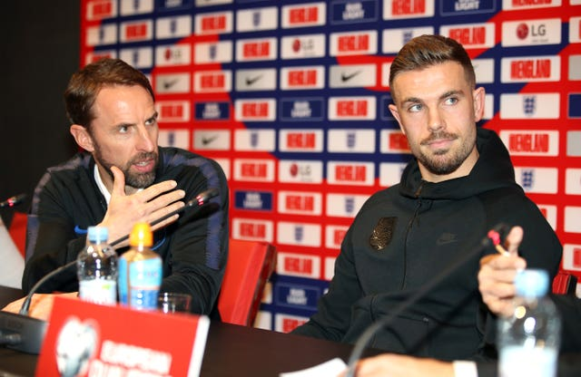Henderson and manager Southgate faced the press (Nick Potts/PA)