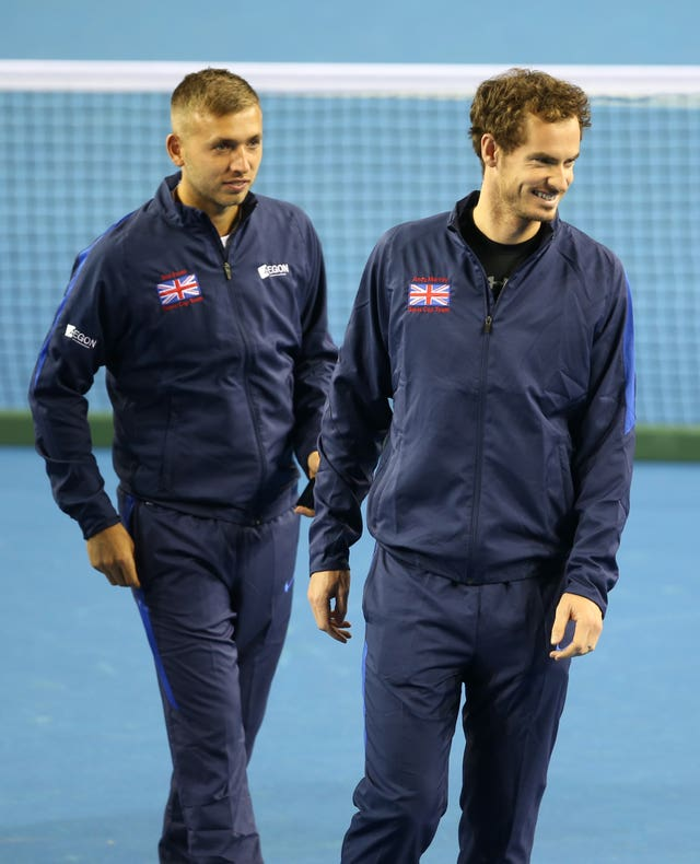 Dan Evans (left) would love the chance to play doubles with Andy Murray at Wimbledon