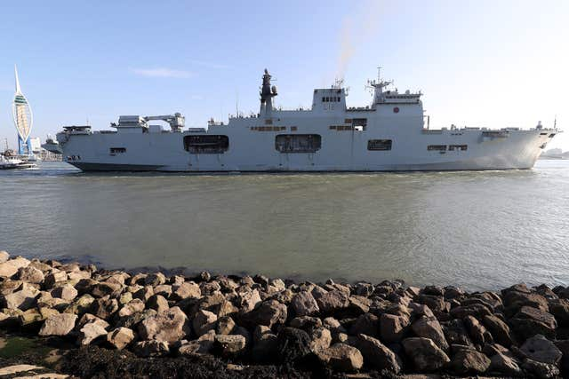 HMS Ocean leaves Portsmouth