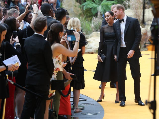 The Duke and Duchess of Sussex attend the European premiere of Disney's The Lion King at the Odeon Leicester Square, London