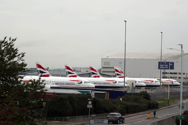 British Airways planes parked at the Engineering Base at Heathrow Airport