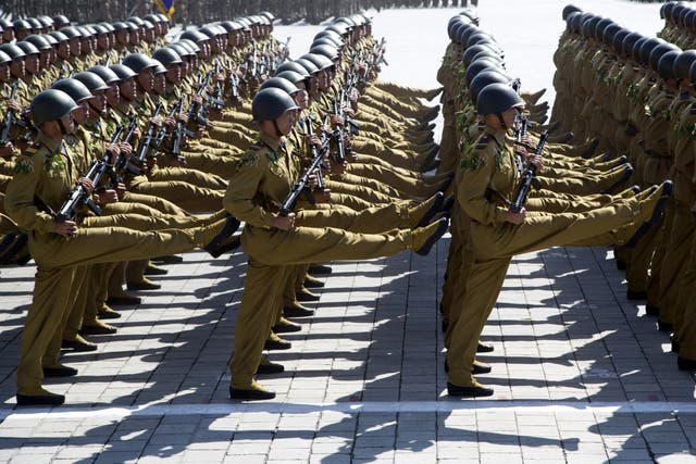 Soldiers march during a parade for the 70th anniversary of North Korea's founding day in Pyongyang
