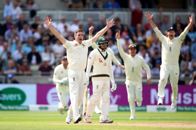 Chris Woakes appeals for a wicket which is eventually given following a review