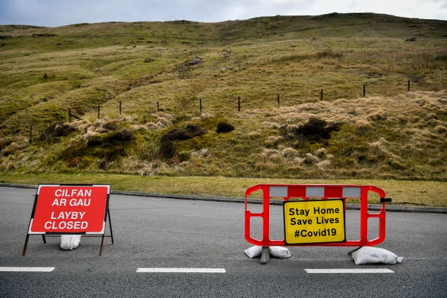 Laybys along the A470 near Pen y Fan in the Brecon Beacons were closed (Ben Birchall/PA)