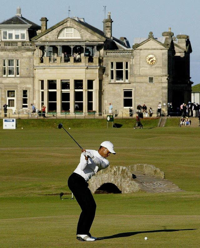 Tiger Woods tees off at the eighteenth at the 134th Open Championship at St Andrews in 2005