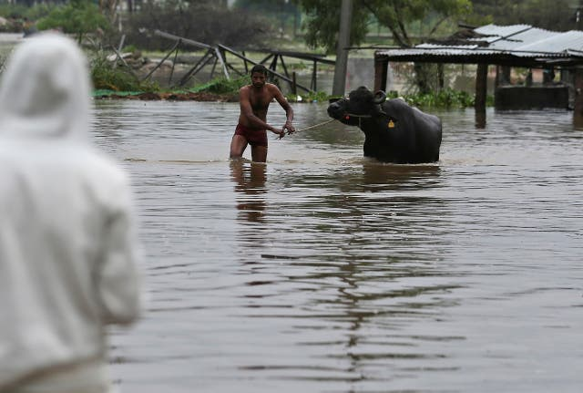 A man leads a buffalo past floodwaters (Mahesh Kumar A/AP)