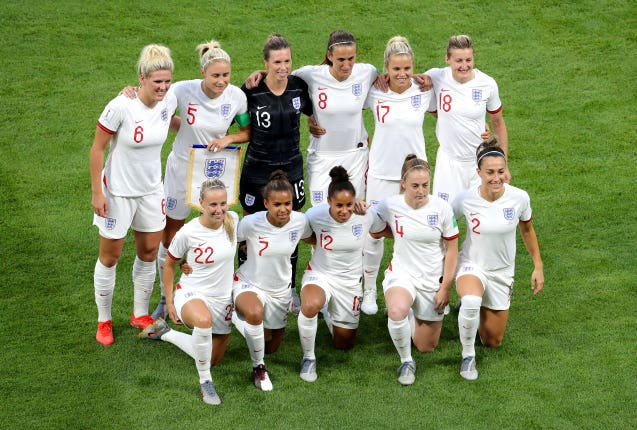 England women before their semi-final defeat to the USA at the World Cup