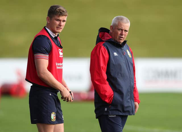 Gatland with Owen Farrell during the 2017 Lions tour to New Zealand (David Davies/PA).