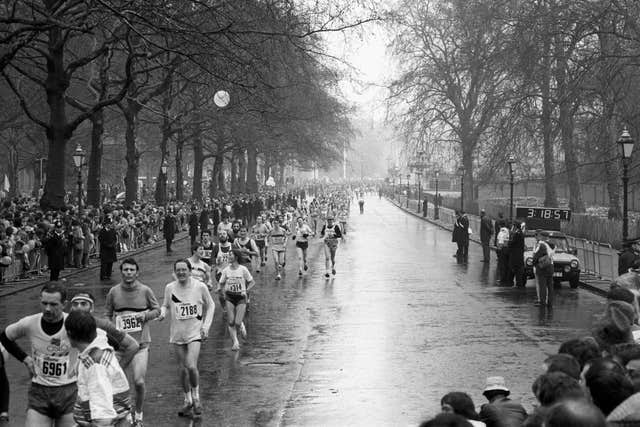 Competitors running along Pall Mall in the first ever London Marathon in 1981