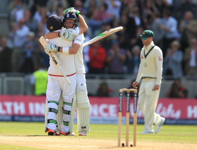 England's Joe Root and Ian Bell celebrate victory over Australia in 2015