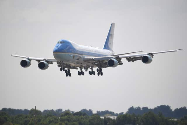 Air Force One comes in to land at Stansted Airport