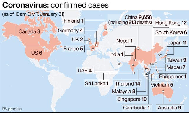 A graphic showing confirmed coronavirus cases