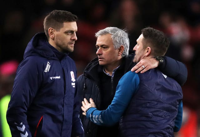 Jonathan Woodgate, left, and Robbie Keane, right, with Mourinho after the game