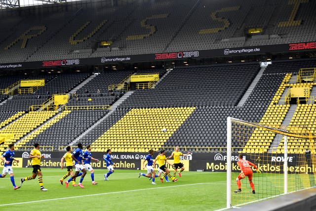 Empty stands in Dortmund as the Bundesliga resumes