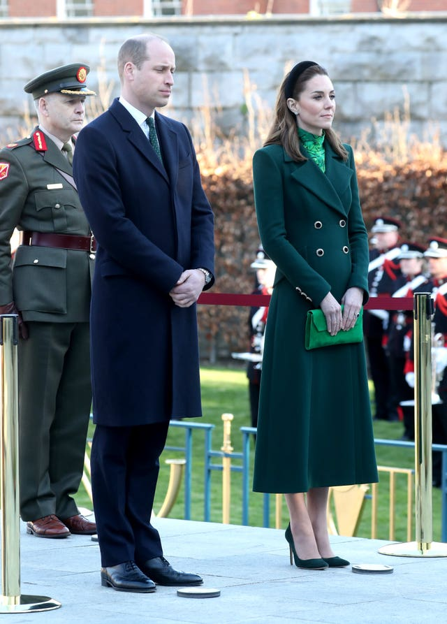 The Duke and Duchess of Cambridge lay a wreath during a visit to the Garden of Remembrance in Dublin