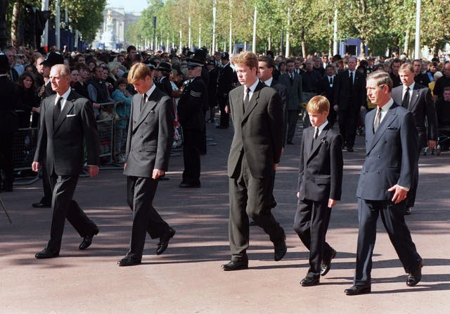 The Duke of Edinburgh, Prince William, Earl Spencer, Prince Harry and the Prince of Wales walking behind the coffin of Diana, Princess of Wales (Tony Harris/PA)