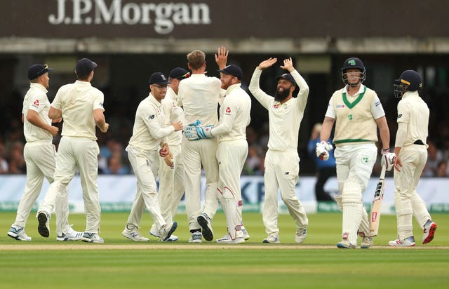 England celebrate the wicket of Ireland's Kevin O'Brien, second right, in their dramatic Test win at Lord's