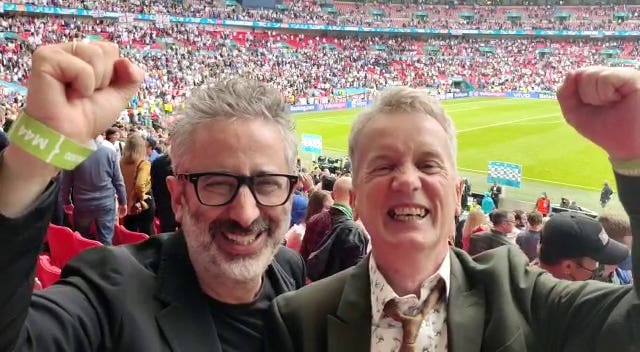 David Baddiel (left) and Frank Skinner watch England v Germany