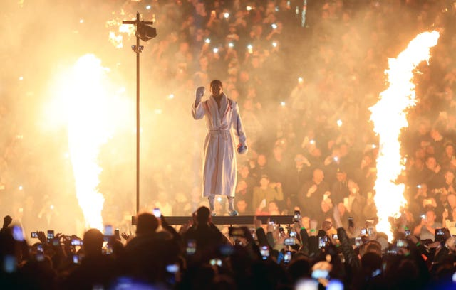 Anthony Joshua made a grand entrance at Wembley