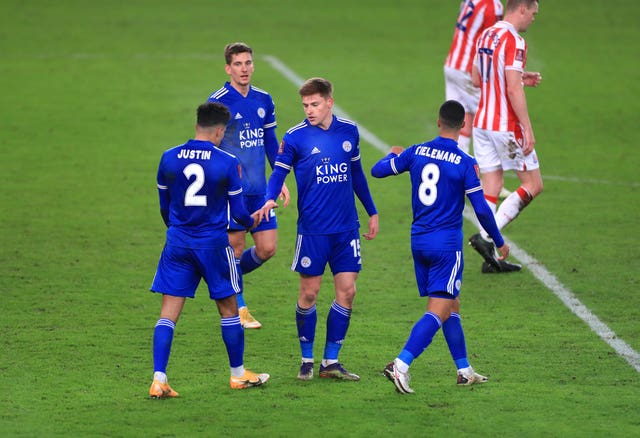 James Justin, Harvey Barnes and Youri Tielemans, l-r