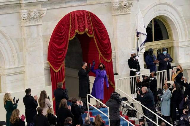 Vice president-elect Kamala Harris and her husband Doug Emhoff, arrive for the 59th presidential inauguration