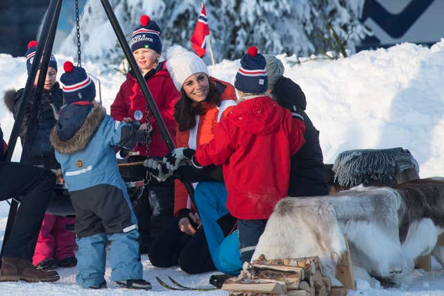 The Duchess of Cambridge in Tryvann, Oslo, Norway with the Norwegian Ski Federation, where they saw a group of local nursery children taking part in a ski school session (Victoria Jones/PA)