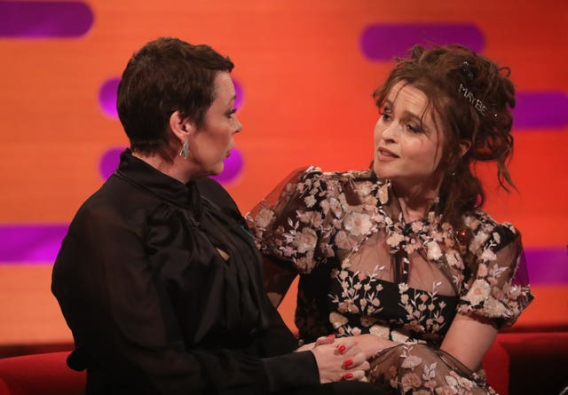 Olivia Colman (left) and Helena Bonham Carter while filming The Graham Norton Show