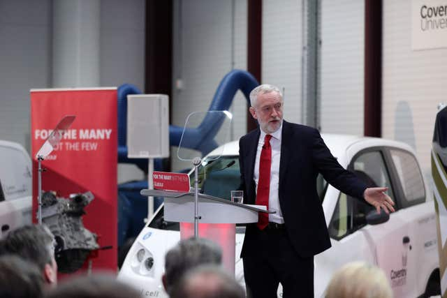 Jeremy Corbyn at the National Transport Design Centre in Coventry (Aaron Chown/PA)