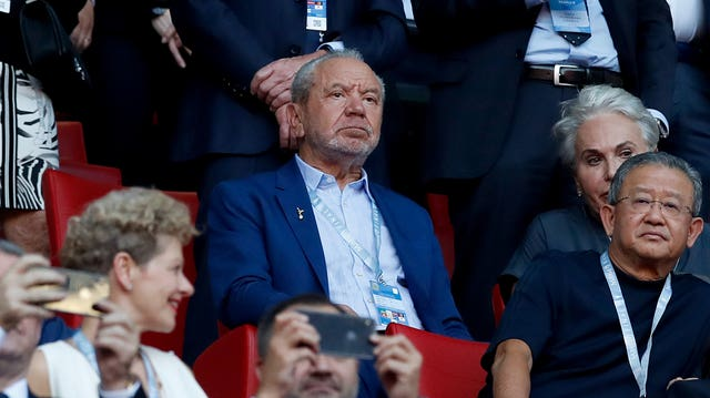 Lord Sugar in the stands during the UEFA Champions League Final