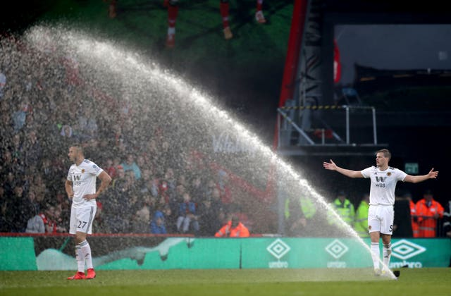 A sprinkler comes on during Bournemouth's Premier League clash with Wolves