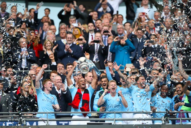 Manchester City continue their defence of the FA Cup on Sunday