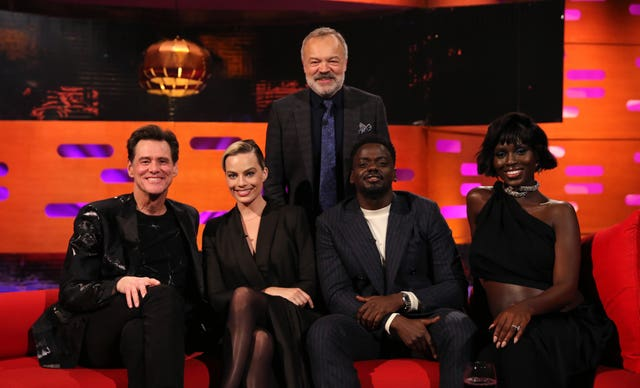 Graham Norton with (seated left to right) Jim Carrey, Margot Robbie, Daniel Kaluuya and Jodie Turner-Smith